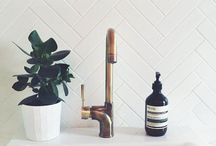 Bathroom / #Black&white #bathroom #retro #bronze #glass #bw #tiles