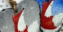 Christmas Decorations / Meet Robin, Fox, Snowman and many more on hand painted slate and paper mache decorations