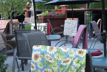 Things to keep you warm. / This restaurant has Colourful lap quilts for their patio.  Each quilt is handmade from 2.4 metres of fabric.