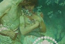 Alphonse Mucha / One of my most favorite artists. Alfons Maria Mucha, often known in English and French as Alphonse Mucha, was a Czech Art Nouveau painter and decorative artist, known best for his distinct style. He produced many paintings, illustrations, advertisements, postcards, and designs