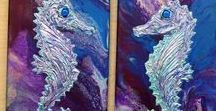 Seahorse Art / Seahorse mixed media art on canvas