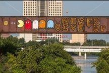 """Austin Graffiti Bridge - Austin Railroad Graffiti Bridge over Lady Bird Lake Photo Image Gallery / Inspirational graffiti paintings on a highly visible railroad bridge over Lady Bird Lake overlooking the Austin skyline. The themes were: """"Life is Change - Be Flexible""""; """"Focus One Point And Breathe"""" and just for fun, """"Let's Pretend We Are Robots""""."""
