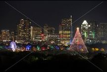 """Zilker Holiday Tree / Austin's Zilker Park Tree is a Christmas display made of lights strung from the top of a Moonlight tower in Zilker Park. The Zilker Tree is lit in December along with the """"Trail of Lights,"""" an Austin Christmas tradition."""