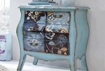 Decoupage, stencilled and painted furniture
