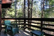 Quiet Creek Inn: Our Cabins / Take a peek inside our cabins; Quiet Creek Inn offers deluxe Studio accommodations and premium one-bedroom suites on seven wooded acres full of pine trees and Strawberry Creek / by Quiet Creek Inn