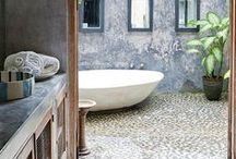 HOME SPACE\\Best bathroom / Simple with a splash of color, with interesting tiles and raw wood elements