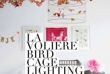 Bird Cage Chandelier - La Volière Lighting / The original and authentic Volières Bird Cage Lighting collection. La Voliere is a range of copper wire birdcage lighting from French atelier Mathieu Challières which includes the luxury Bird Cage Pendant Chandeliers in three sizes, a Floor Lamp, Wall Lights and three sizes of Table Lamps. Introducing the new Lustre Diabolos Perroquet chandelier available in three sizes. All designed in Paris and made in France.