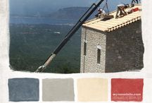 MY MESSINIA\\Color palettes /   These are color palettes inspired by routine outdoor and indoor occupations in Messinia, my olive tree valley and beyond. These fleeting moments charged with meaning are translated into colors. The concept is basically driven by a realization that we are constantly surrounded by colors and our home is not only our house but the outside too which often places us between imaginable walls, ceilings and floors, we put the limit in dimensions where we chose.