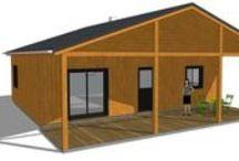 Plans de la maison Anita 62 m² habitables / Variations de styles et d'options autour d'un même plan de maison.