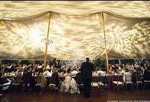 Tent Weddings / This board features photos of tent weddings, complete with lighting and audio/visual elements, such as uplighting, dance floor washes, custom monogram projections, various string lighting, and pin spotting.