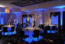 Blue Weddings / This board features weddings with shades of blue as the prominent color, including design elements such as uplighting, breakup patterns, pin spotting, dance floor washes, intelligent lighting, and audio/visual components.