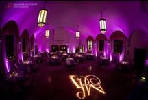 Pink and Purple Weddings / This board features weddings with shades of and pink and purple as the prominent color, including design elements such as uplighting, breakup patterns, pin spotting, dance floor washes, intelligent lighting, and audio/visual components.