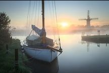 The Broads National Park in Greater Yarmouth / Beautiful Norfolk Broads which run through the villages and towns in the borough of Great Yarmouth