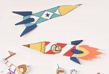 raket en ruimte / raketten, Planeten, satellieten, sterren……..