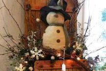 Winter Sleds / Sleighs / Seasonal Decor with sleds, skates, etc.