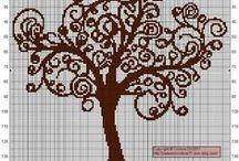 cross stitch trees