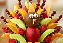 """Fall Fruit Bouquets / Fall fruit arrangements from Fruit Bouquets make an edible autumn treat with fresh fruit shaped flowers! From gourmet chocolate dipped strawberries to sweet pineapple daisies, our fall fruit bouquets are sure to """"spice"""" up any autumn party!"""