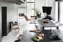 Modern scandinavian house inspiration / Inspiration for a modern, open scandinavian house. Black and white. Open spaces. Smart solutions.