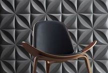 Paredes 3D / Three-dimensional interior wall panels made from reinforced industrial gypsum. These easy-to-install tiles have a seamless surface and a perfect automatic pattern repeat, and can be painted in any desired colour.