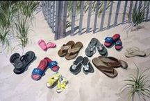 Family Soles Paintings / Family Soles, watercolor, paintings, shoes, flip flops, art, giclees, commissioned paintings