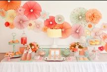 Peach and Aqua Theme Baby Shower Ideas