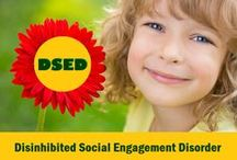 DSED - Disinhibited Social Engagement Disorder / DSED - is a new diagnosis from the most recent DSM-5, the bible of mental health. DSED includes types of disorder of attachment in which children are socially disinhibited - infants and children who are not cautious with strangers and will go to most anyone. If you are a parent with a child who has no apprehension about strangers, then your child may be diagnosed with DSED instead of RAD. Discuss with your mental health expert ... and follow along here as the story unfolds ...
