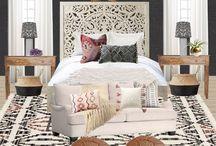 :: Master Bedroom Inspiration :: / Moody, den-like, ethnic textiles, global influence, nooooo clutter.  Textures, teak,  brass, grey, ivory, teals, greens,