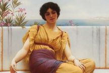 "John William Godward  1861-1922 / English painter from the end of the Pre-Raphaelite/Neo-Classicist era. He was a protégé of Sir Lawrence Alma-Tadema but his style of painting fell out of favour with the arrival of painters like Picasso. He committed suicide at the age of 61 and is said to have written in his suicide note that ""the world was not big enough"" for him and a Picasso."