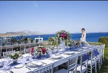 Mediterranean Chic Wedding Inspiration / Dreamy Reception facing the Greek Riviera