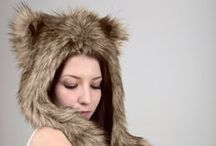 """Faux fur hats with ears / ---Beast Hats series---  Animal hats are new trend in the modern fashion.  Elegant, warm, comfortable hats with long ears - they can bring piece of wildness into your life.  Wolf, fox, panda, bear, raccoon, husky, puma and other beautiful animals share their style with us to create """"Beast Hats"""".  Only faux fur!"""