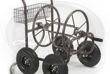 """The 871 Four Wheel Hose Cart / The versatile 871 Four Wheel Hose Cart features a lightweight 1 ½"""" steel frame set on four pneumatic tires for a sturdy support base with great maneuverability. Designed for home, farm and commercial uses. #hose #storage #metal #garden"""