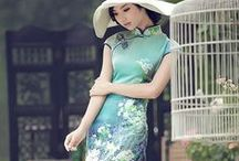 Allure of female traditional dresses / Cheongsam - 长衫/長衫 (qipao - 旗袍),  áo dài, Kimono, Traje de flamenca, Hanbok etc.
