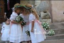 Per il wedding flower:... / ...coroncine, braccialetti, cuori e nuvole di gypsophila con roselline.