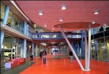 """ROC Aventus Apeldoorn / A building complex like a city, with a central boulevard -'Hi Street'- as a meeting place which is open to the public. Vocational Training Centre - """"Training City"""" - for 10,000 students. In Apeldoorn, the Netherlands."""