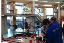 Sprengeloo Technology Tower / Learning by doing: practical work combined with instruction. Classrooms linked to workshops. Vocational Training Centre, 300 students. In Apeldoorn, the Netherlands.