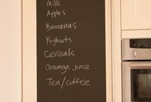 Ideas for chalkboard! / Gone are the days of blackboards in schools but chalkboard film is a great, versatile product and can be used for so many things. Every home should have some!!