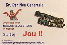 Serious Request 2015 /  Heerlen is de locatie voor het Glazenhuis en de actie Serious Request 2015. Het doel waar Serious Request 2015 aan verbonden wordt, zal volgens de organisatie in mei bekend worden gemaakt. Der Neu Generasie, is echter al gestart met de verkoop van Pins. De opbrengst is voor het goede doel dat later gekoppeld zal worden aan Serious Request.  http://derneugenerasie.nl/index.php/serious-pins