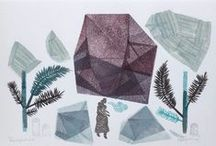 Original linocut monotypes by Paulina Vårregn / Tribal Geometry | dreamy landscapes original linocut monotypes & paintings handprinted & painted with passion & love | shop here: paulinavarregn.etsy.com