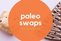 Paleo Swaps / Learn about different products you can swap for paleo, gluten free, grain free, diary free, soy free, and peanut free options. There are many paleo friendly products, breads, flours, desserts, makeup, and more...