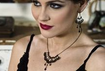 A Vintage Affair - Noir / A Vintage Affair - Noir. This elegant collection of #jewellery is #handmade with #upcycled hooks, eyes, press studs and handstitched with wire and finished with glass beads. http://www.judithbrownjewellery.co.uk/ourshop/cat_465499-A-Vintage-Affair-Noir.html