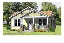 "Bungalow House Plans  / Bungalow home plans are most often associated with ""Craftsman"" style homes, but are certainly not limited to that particular architectural style. Bungalows generally have a compact, solid, horizontal look, often with low-slung roofs, front or side gables and asymmetrical front porches.  / by COOLhouseplans.com"
