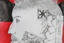 VÝTVARKA - ROBOTI, STROJE, PŘÍSTROJE / výtvarná výchova 2. stupeň, stroj, vynález, vynálezce, plánek, robot, přístroj, machinery, gadgest, elementary art, Romana Bachelová