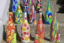 Bottle Art / Simply wine bottles turned into unbelievable art pieces! etchall® is a great tool for making pieces like this because it gives glass the tooth and texture for painting, to better keep it from flaking off or showing brush strokes.