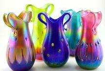 Iridescent Hand Blown Glass Vases / Art Glass by Iricape