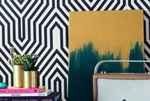 Statement Wallpaper inspiration / Geometric, statement, unique wallpaper! Loads of patterned and printed wallpaper that shows you can be bold with your home decor. A bit of textures wallpaper in there too.