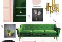 Colour Palette inspiration - Emerald Green, blush pink and gold / Inspired by the colours of Santa Margherita on the Italian Riviera. Green, pinks and golds all sitting next to each other.
