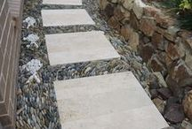 STONE PATHWAY / rock wall and stone paths