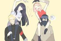 NaruHina / Neste painel concentram-se imagens de Naruto e HInata, combinando os nomes têm-se NaruHina.