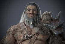 """Barbarian / Hi guys! I used for this project the softwares: 3D max, Mudbox, Zbrush, Substance Painter and Photoshop. This project was inspired in the art of this great artist Chinese, """"people strange"""". I hope you all enjoy!"""