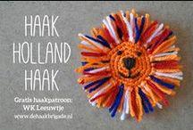 haken - Hollands haken - rood, wit, blauw en oranje / by Marijke Goudriaan